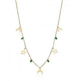 Collar Viceroy Fashion 75199C01012 dorado para mujer con detalle en forma de lunas y estrellas
