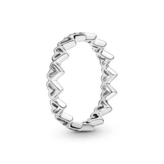 Anillo Pandora 198696C00 de plata en forma de corazón abierto con circonita