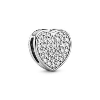 Charm Pandora 798684C01 Reflexions de plata en forma de corazón pavé con circonita