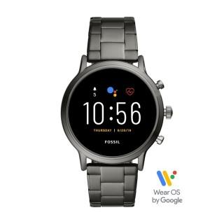 Relógio Fossil Q Carlyle Gen 5 FTW4024 para homem com pulseira de aço cinza, 3 ATM