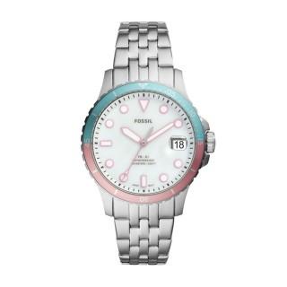 Relógio Fossil FB-01 ES4741 para mulher com pulseira de aço e mostrador azul/rosa, 10 ATM