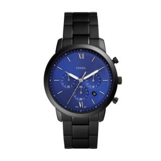 Relógio Fossil Para Homem Com Bracelete de Aço Preto E Mostrador Azul, 5 Atm