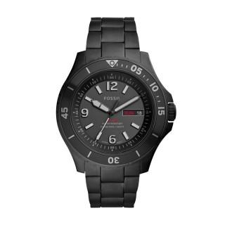 Relógio Fossil Para Homem Com Bracelete De Aço Preto E Mostrador Preto 10 Atm