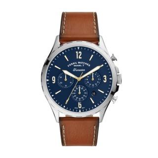 Relógio Fossil Forrester FS5607 para homem com pulseira de couro marrom e mostrador azul, 5 ATM