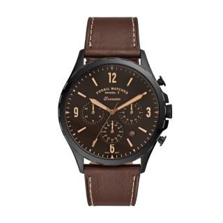 Relógio Fossil Forrester FS5608 para homem com pulseira de couro marrom e mostrador marrom, 5 ATM