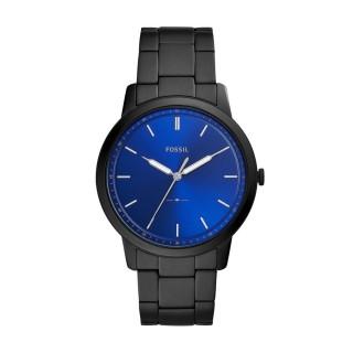 Relógio Fossil Minimalist Para Homem Com Bracelete de Aço Preto E Mostrador Azul