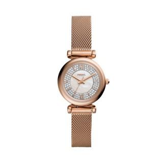 Reloj Fossil Carlie Mini ES4836 para mujer con correa de malla milanesa rosa y esfera blanca, 3 ATM