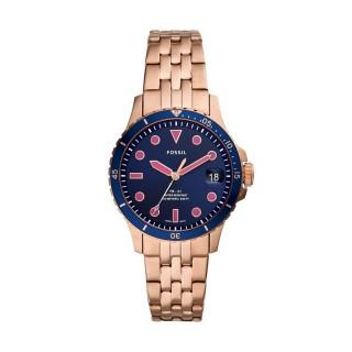 Relógio Fossil FB-01 ES4767 para mulher com pulseira de aço rosa e mostrador azul, 10 ATM