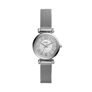 Relógio Fossil Carlie Mini ES4837 para mulher com pulseira de malha milanesa e mostrador branco com pedras, 3 ATM