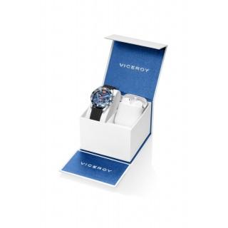 Conjunto Viceroy 401217-35 de relógio com pulseira de silicone preto e mostrador azul de 5 ATM + Airpod