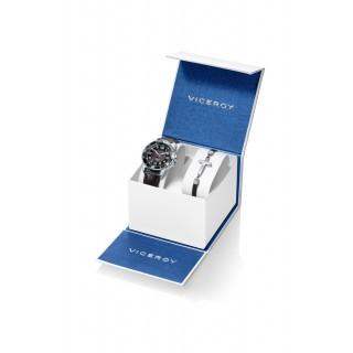 Conjunto Viceroy 401213-55 de relógio de couro preto e mostrador preto de 5 ATM + pulseira com detalhe em forma de cruz