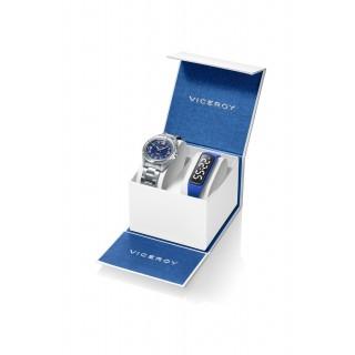 Conjunto Viceroy 401211-35 de relógio de aço e mostrador azul de 5 ATM + pulseira ativa azul