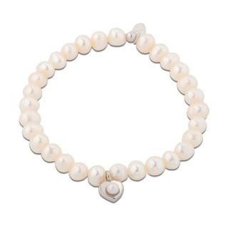 Pulsera de plata con detalle de perlas y colgante de coraz