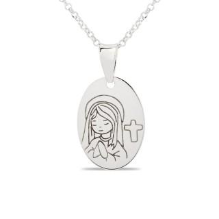 Collar de plata con detalle en forma de virgen, 15 + 3 cm
