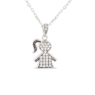 Collar de plata con detalle de ni con 1 coleta, 43 + 5 cm