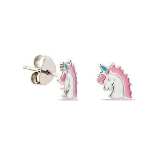 Pendientes de plata en forma de unicornio esmaltado en rosa