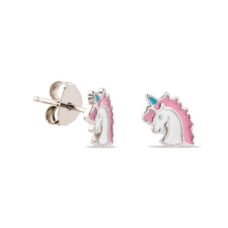 Brincos de prata em forma de unicnio esmaltado em rosa