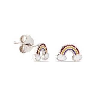 Pendientes de plata en forma de arco Iris y nube esmaltados