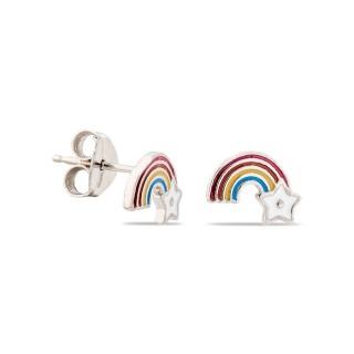 Pendientes de plata en forma de arco iris y estrella esmaltados