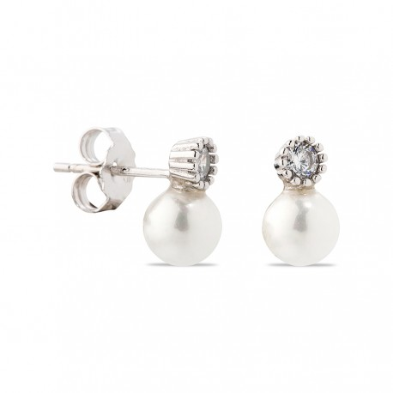 Pendientes Tu y yo de plata con perla y circonita