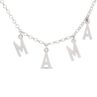 Collar de plata con palabra mama colgante, 40 + 5 cm
