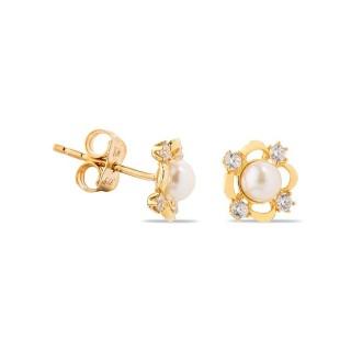 Brincos de ouro em forma de flor com pérola e zircônia