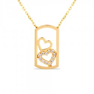 Colar de ouro com detalhe em forma de retângulo e 2 corações