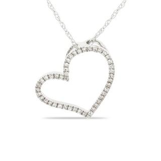 Collar de oro blanco con detalle en forma de corazón con 46 diamantes, 42 cm