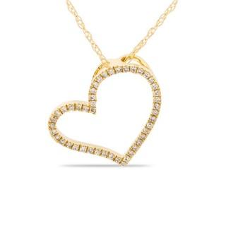 Collar de oro amarillo con detalle en forma de corazón con 46 diamantes, 42 cm