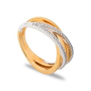 Anel tiras cruzadas bicolor com 52 diamantes de 0,25 CT
