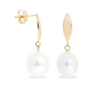 Pendientes de oro con perla en forma de pera de 8.5-9 mm