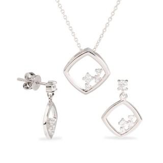 Conjunto de pendientes y collar de plata con circonita, 42 + 3 cm