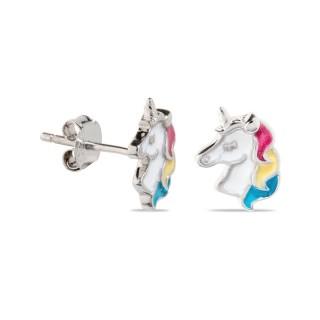 Pendientes de plata en forma de unicornio esmaltado
