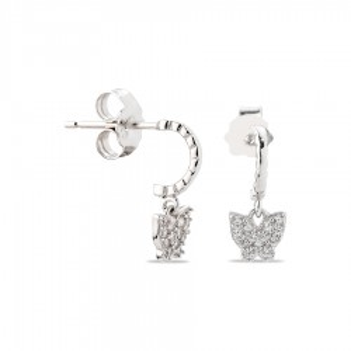 Pendientes de plata en forma de criollas con mariposas y circonitas