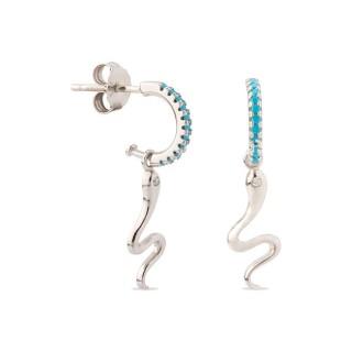 Pendientes de plata con detalle en forma de serpiente turquesa