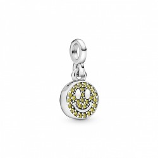 Charm Pandora 798395NLY de prata em forma de smile com cristal amarelo