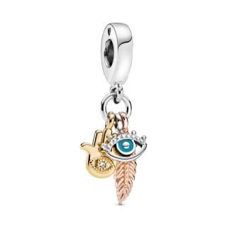 Charm Pandora 768785C01 de prata em forma de mão de Fátima e olho turco