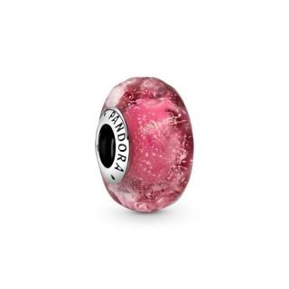 Charm Pandora 798872C00 de prata com murano rosa