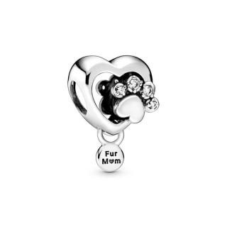 Charm Pandora 798873C01 de plata en forma de corazón y huella brillante