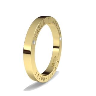 Alianza Oro 18 KT Inscripción Lateral con Diamante