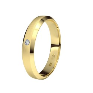 Aliança Ouro 9 KT Trapézio com Diamante