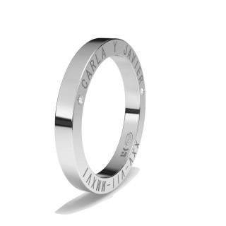 Aliança Ouro Branco 9 KT Inscrição lateral com Diamantes