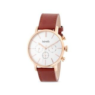 Reloj de cuero Borelli Archer marrón para hombre