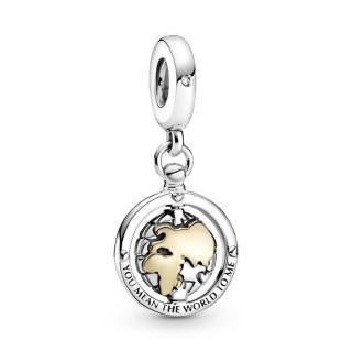 Charm Pandora 799303C01 de Prata com Detalle en Oro Mundo