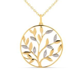 Colar banhado em Ouro com Zircônia Círculo e Hojas Oro Vivo
