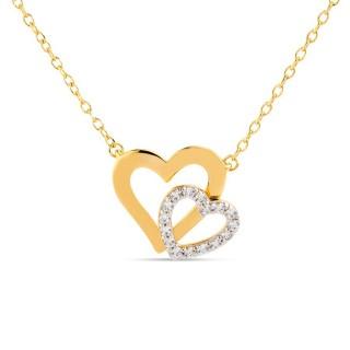 Colar banhado em Ouro com Coração e Zircônia Oro Vivo
