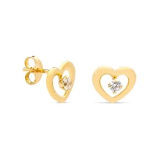 Pendientes de oro amarillo en formato de corazón Oro Vivo