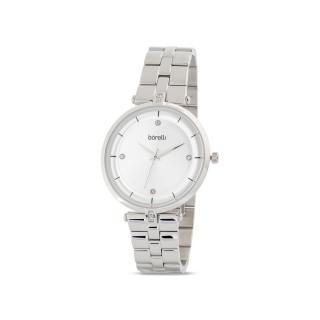 Reloj de acero Borelli Glam plata para mujer