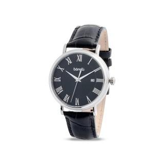 Reloj de cuero Borelli Vintage negro para hombre
