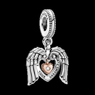 Charm Pandora 789296c01 Prata e Rose com Coração e Diamante